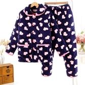 女裝睡衣女加厚法蘭冬珊瑚絨三層夾棉中年保暖棉襖媽媽家居服套裝