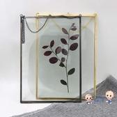 金屬相框 復古金屬相框透明玻璃畫框植物標本夾裝飾照片牆北歐簡約掛牆相框T 2色 雙12提前購