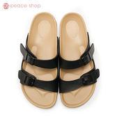 拖鞋-peace衣著館-MIT手工鞋-夏日必備馬卡龍色系拖鞋,黑色