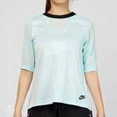 Nike Sportswear Top Bonded 女子 水藍色 運動短袖 829756-411