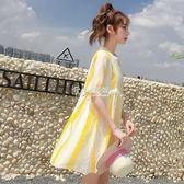 短袖裙裝 夏裝超仙娃娃裙A字裙高腰寬鬆中長款短袖ins洋裝度假沙灘裙女裙 卡菲婭