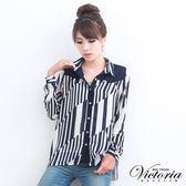 Victoria 幾何條紋雪紡襯衫-女-藍色