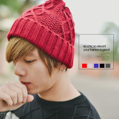 韓系質感立體麻花針織素色毛帽【N9469J】