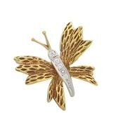 Tiffany & Co 蒂芬妮 18K金鑲鑽蝴蝶造型胸針 Butterfly Blouch PT950