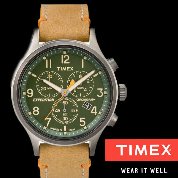 TIMEX 軍綠數字運動三眼皮帶錶x42mm棕褐 夜光冷光面板 TW4B04400 公司貨|名人鐘錶高雄門市