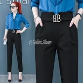黑色顯瘦哈倫褲女春夏褲子女高腰寬鬆2021新款小腳職業白色西裝褲 快速出貨