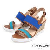 Tino Bellini巴西進口玩色楔形涼鞋_ 藍 A73010 歐洲進口款