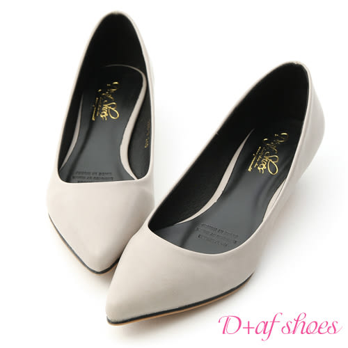 D+AF 俐落優雅.簡約素面尖頭低跟鞋*淺灰