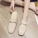 拖鞋女外穿2021新款夏季平底半拖軟皮懶人包頭穆勒鞋軟底百搭女鞋 快速出貨