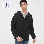 Gap 男裝 簡約純色按扣連帽外套 546671-純正黑色
