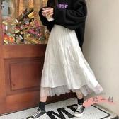網紗半身裙 白色百褶半身裙中長款女2020年夏季新款高腰a字百搭網紗短裙 LW1186