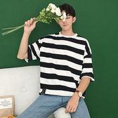 2018夏季新款條紋短袖t恤正韓青少年寬鬆打底衫男裝限時八九折