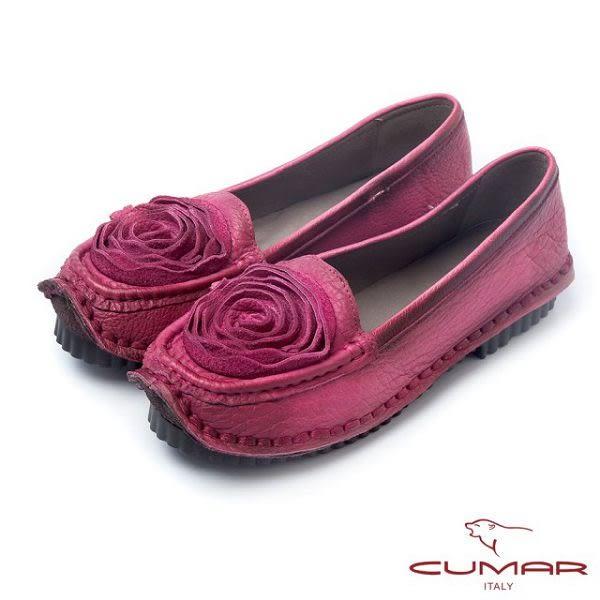 【CUMAR】優雅拼接-雙色感立體皮革花卉休閒鞋(粉紅色)