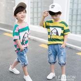 童裝男童夏裝套裝2018新款兒童夏季中大童短袖男孩帥氣兩件套潮衣-Ifashion