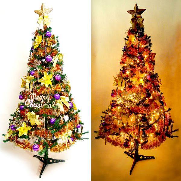 【摩達客】幸福5尺/5呎(150cm)一般型裝飾綠聖誕樹 (+金紫色系配件+100燈鎢絲 樹燈2串)