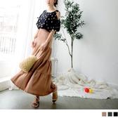《CA1969-》台灣製造.高含棉純色腰鬆緊蛋糕長裙 OB嚴選