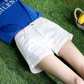 破洞牛仔短褲女韓版高腰寬鬆卷邊