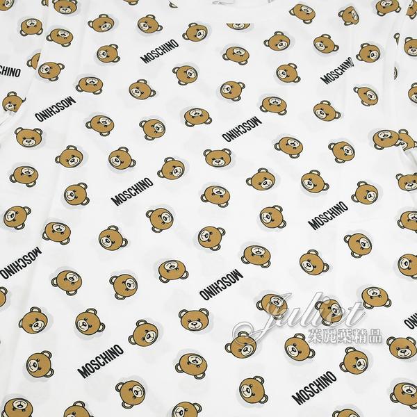茱麗葉精品【全新現貨】MOSCHINO 滿版泰迪熊造型棉質短T恤.白
