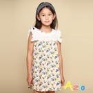 Azio 女童 洋裝 領口袖口蕾絲造型滿版彩色花朵印花接片短袖洋裝(小花) Azio Kids 美國派 童裝
