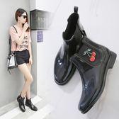 刺繡雨靴短筒水鞋防滑防水套鞋韓國時尚膠鞋成人雨鞋女