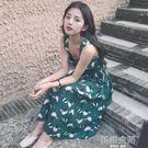 港味復古chic風氣質顯瘦碎花吊帶無袖中長款洋裝女修身長裙 韓語空間