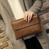 男士手包超大容量手拿包軟皮商務休閒男士手包信封包 可可鞋櫃