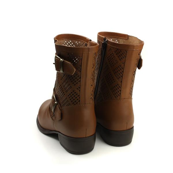 HUMAN PEACE 皮革 拉鍊 好穿脫 中統 短靴 靴子 棕色 女鞋 B6967 no317