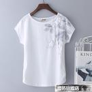 中大尺碼上衣 年新款夏裝白色大碼純棉t恤女短袖寬鬆半袖體桖中年媽媽上衣
