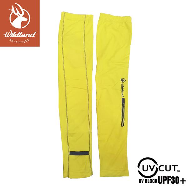 【Wildland 荒野 中性 印花開洞抗UV透氣袖套《芥末黃》】W1810/手套/防曬手套/騎機車/自行車/登山