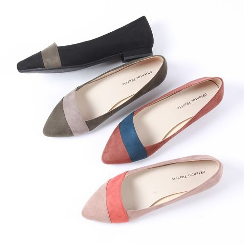 【ORiental TRaffic】舒適尖炫撞色低跟鞋-優雅米