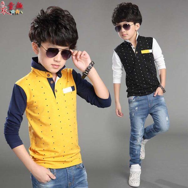 衣童趣 ♥韓版男童 帥氣 翻領時尚T恤 三色可選 點點 撞色 百搭休閒上衣