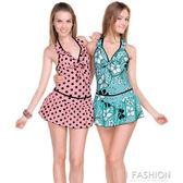 俊飛女游泳衣性感三角泳褲裙式連體泳裝遮肚顯瘦鋼托溫泉-Ifashion