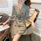 第二件4折 韓國風雙排釦千鳥格紋修身西裝領長袖洋裝
