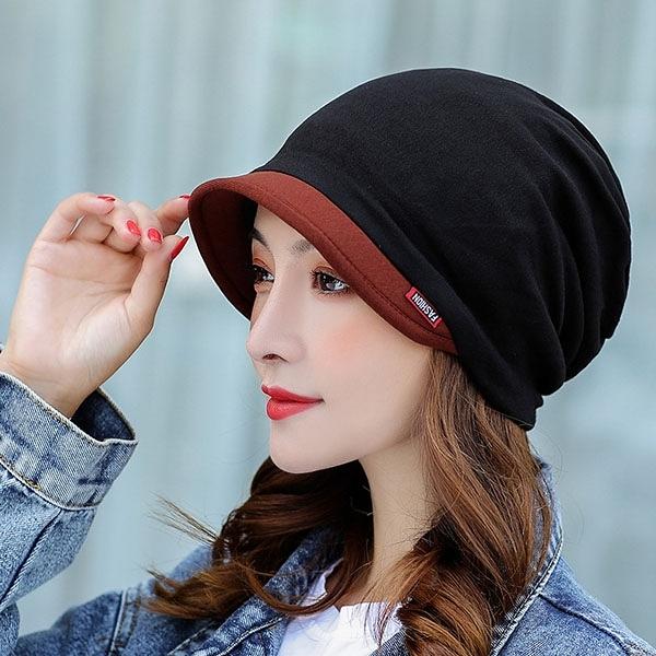 今年度秋冬韓版拼色加檐帽子多功能保暖套頭包頭帽72360