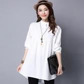 降價兩天 2020春秋女裝上衣 韓版白色襯衫女長袖 寬鬆大尺碼休閒棉麻立領