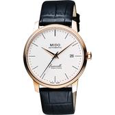 MIDO 美度 Baroncelli III Heritage 復刻經典機械手錶-玫瑰金x白/41mm M0274073626000