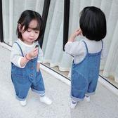 兒童背帶褲裝兒童休閒褲韓版闊腿褲男童女童PP牛仔褲潮   伊鞋本鋪