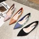 低跟鞋尖頭低跟鞋女5cm2021春新款網紅高跟鞋簡約百搭緞面中跟細跟單鞋  迷你屋 618狂歡