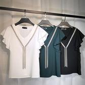 夏季雪紡衫女韓版新款大碼女裝短袖遮肚t恤上衣顯瘦蕾絲打底 【Korea時尚記】