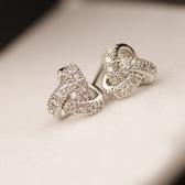 耳環 925純銀鑲鑽-清新氣質生日情人節禮物女耳飾73du27【時尚巴黎】