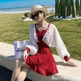 泳衣 泳衣女2021新款裙式連體保守顯瘦小胸聚攏長袖兩件套泡溫泉游泳裝 618購物節