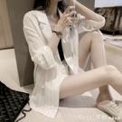 防曬衣 小西裝薄外套女2021年新款韓版時尚寬鬆條紋防曬衣短款職業小西服 俏girl