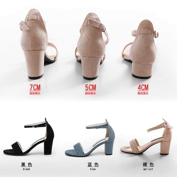 一字帶涼鞋女仙女百搭粗跟高跟鞋
