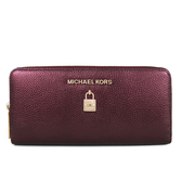 MICHAEL KORS 鎖頭金屬光澤皮革ㄇ型拉鏈長夾(酒紅色)-35H8GGFE9M