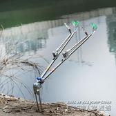 不銹鋼雙炮台支架釣魚竿支架雙頭支架竿架桿架台釣支架帶地插  IGO