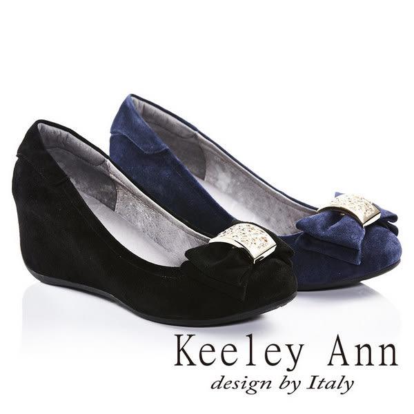 ★零碼出清★Keeley Ann金屬雕花雙層蝴蝶結內增高羊麂皮楔形鞋(藍色)
