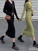 針織洋裝 裙子女秋冬性感V領緊身氣質黑色針織連衣裙中長款修身打底裙 新年禮物