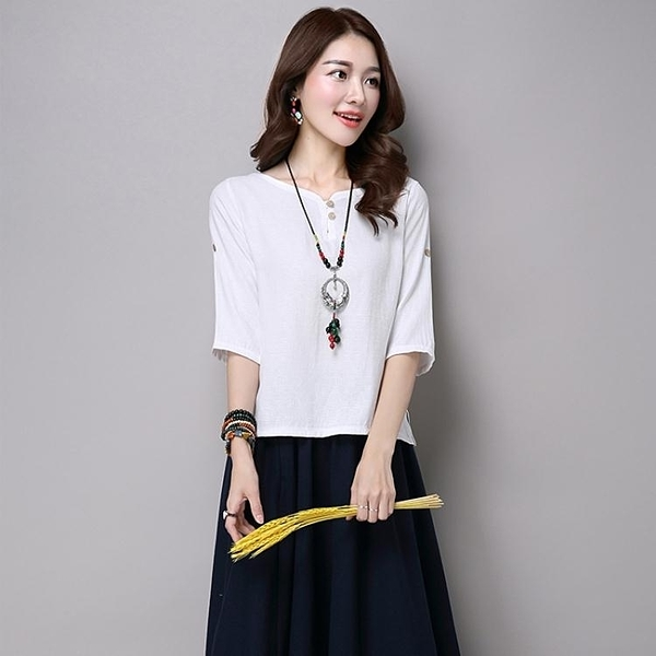 亞麻女裝襯衫棉麻上衣七分袖苧麻純色寬鬆民族風T恤女