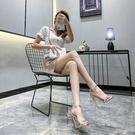 2021年新款夏季一字帶扣涼鞋細跟銀色性感仙女風12CM床上高跟鞋子 果果輕時尚