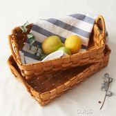 日式手工木片編織籃子收納籃藤把手水果面包籃野餐籃    琉璃美衣